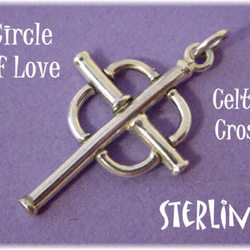 Celtic Circles of Love Irish Cross Pendant - Sterling Silver Handcrafted Artisan Treasure - FREE SHIPPING