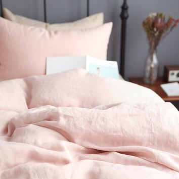 Washed Blush Linen Soft Queen / Twin Size Bedding Set