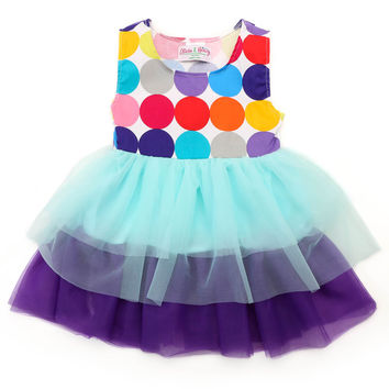 Little Girl's Blue and Purple Party Dress