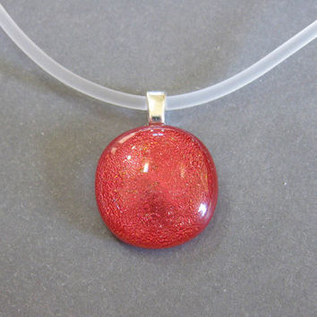Red Necklace, Small Round Necklace, Dichroic Red Jewelry, Simple Jewelry - Solar Flares - 4034 -2