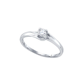 10kt White Gold Womens Round Diamond Solitaire Promise Bridal Ring 1/10 Cttw 77560
