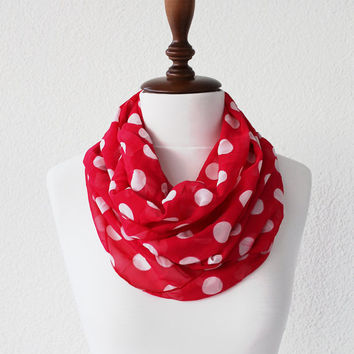 Polka Dots Infinity Scarf - Loop Scarf - Circle Scarf - Cowl Scarf - Soft and Lightweight