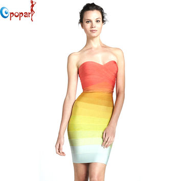 women orange ombre dress gradually shift color off the shoulder strapless rainbow bandage dress sexy short party dress HL8810