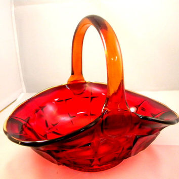 Tiara Constellation basket in amberina glass