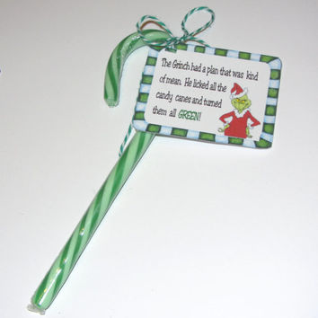CHRISTMAS TAG,GRINCH,candy cane,Christmas party favor,grinch poem, baker's twine included