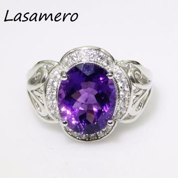 LASAMERO 9*11mm Round cut Purple Amethyst Rings For Women 925 Sterling Silver Ring  Fine Jewelry Engagement  Ring