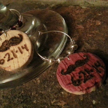 Pair of Mustache Wine Charms, Recycled Wine Cork, Personalized Charm with Date, Beaded Wine Glass Charm, Cork Wood Art, PDX Made