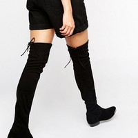 Office Hideout Tipped Stretch Suede Flat Over The Knee Boots at asos.com