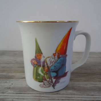 Gnome Sweet Gnome Coffee Cup 1982 Rien Poortvliet Collectible Mug David the Gnome Indulged in Pipe Smoking