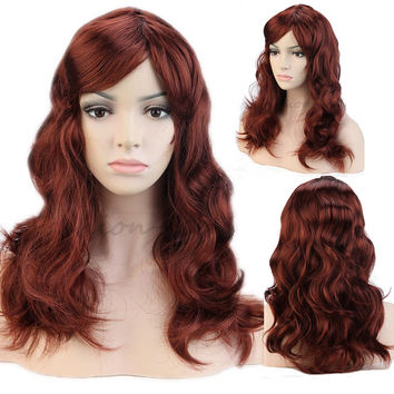 "Full Long Dark Auburn Shiny Hair Wig Sexy Curly Wavy Women's Fashion Synthetic Wigs 19""/48cm Party Baby Fancy Dress"
