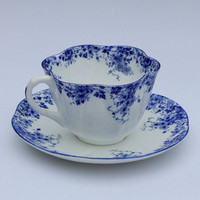 Vintage Dainty Blue Shelley Tea Cup & Saucer