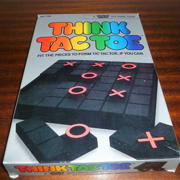 Vintage 1984 'Think Tac Toe' - A Croner Games Solitaire Game / Retro Travel Game / Fit the Pieces to Form Tic Tac Toe, if You Can!