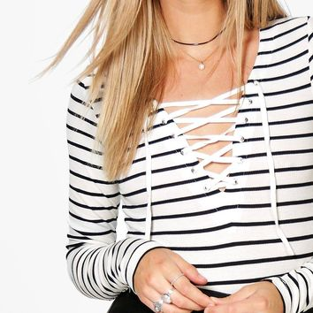 Kayla Rib Striped Lace Up Tshirt