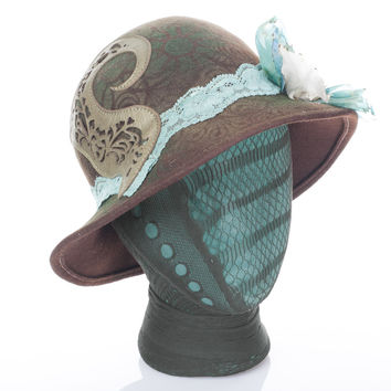 SMALL Upcycled Vintage Felt Hat, Cloche Flapper Style, Brown w/ Stenciled Art Detail, Olive Embossed Leather Spiral Filigree, Silk Flower & Lace
