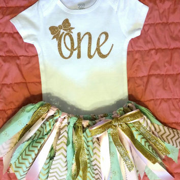 2 piece First Birthday party set mint, pink, and gold with bow and hearts