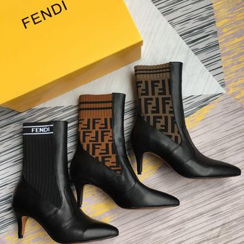 Fendi Rockoko Logo-jacquard Stretch-knit And Leather Ankle Boots - Heel 6.5cm. #903