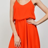 Coral Spaghetti Strap Dress