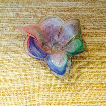Vintage Glass Bowl, Blown Glass, Flower Shape, Colorful, Candy Dish, Nut Dish, Textured, Periwinkle, Royal, Mauve, Teal, Gift Idea