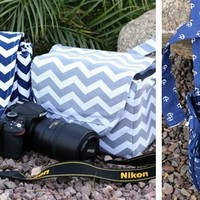 Large Digital Camera Bag in Chevron and Anchors ~ ships in time for Christmas!