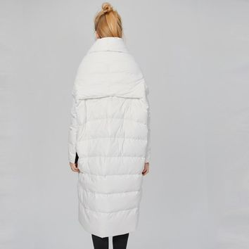 Women White Fashion Down Jackets Women Winter Long Quilted Coat