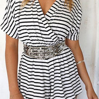 Striped V-Neck Elastic Waist Romper