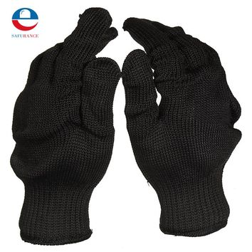 Stainless Steel Wire Safety Work Anti-Slash Cut Static Resistance Wear-resisting Protect Gloves Hand Safely Security Black