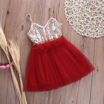 Girls Sequin And Tulle Party Dress