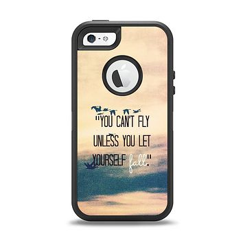 The Pastel Sunset You Cant Fly Unless You Let Yourself Fall Apple iPhone 5-5s Otterbox Defender Case Skin Set
