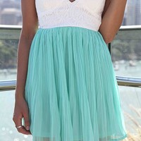 Teal Strapless Mini Chiffon Dress with White Lace Bodice