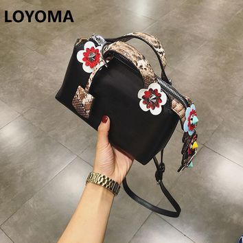 2017 Fashion Summer Women Shoulder Bags Leather High Quality Messenger Bag Boston Flowers Handbag Cross Body Bags Tote Purse