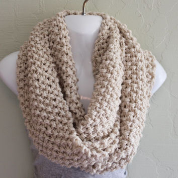 Cream Infinity Scarf. Hand Knitted Scarf. Cream Acrylic Scarf. Winter Accessories. Thick and Chunky Scarf.