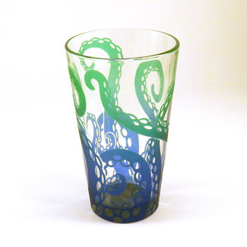 Embracing Tentacles Pint Glass Tumbler - Custom Painted Personalized Barware