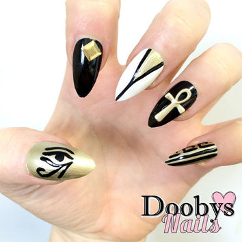 530 Dooby's Stiletto -Egyptian - 24 Hand Painted False Nails Gold Pyramids Fancy Dress Nails Ankh Eye Symbol