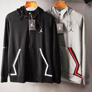 JORDAN Popular Men Women Casual Print Hoodie Cardigan Jacket Coat Windbreaker