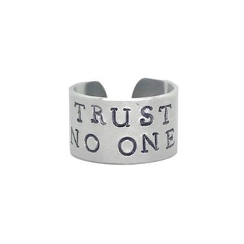 Trust No One Hand Stamped X-Files Aluminum Cuff Ring