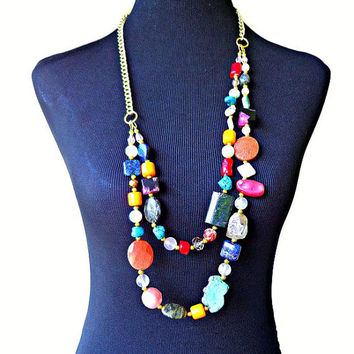 Double Layered Long Gemstone Beaded Statement Necklace, Multi-Color Agate Coral Turquoise Layered Necklace