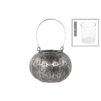 Metal Lantern With Handle And Votive Candle Holder