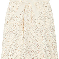 Chloé | Appliquéd cotton-blend lace skirt | NET-A-PORTER.COM