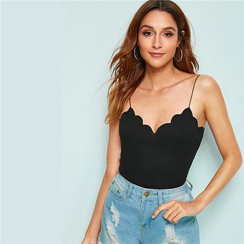 Scalloped Trim Rib-Knit Cami Top Red Black Solid Slim Fit Summer Sexy Women Clothing Spaghetti Strap Tops