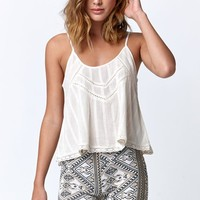 Billabong Midnight Dreamin Crochet Tank Top - Womens Tees - White - Small