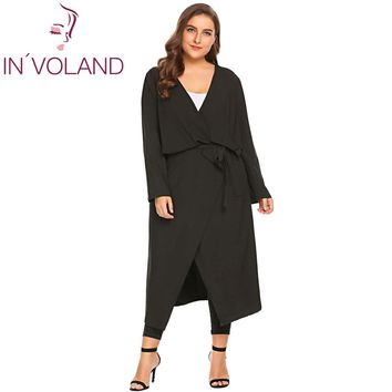 IN'VOLAND Big Size XL-5XL Women Trench Coat Autumn Winter Long Sleeve Open Front Draped Belted Long Large Outerwear Plus Size