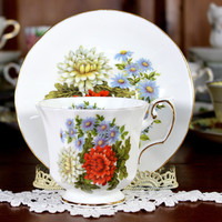 Elizabethan, Tea Cup and Saucer,  English Bone China, Flowers of the Seasons 12255
