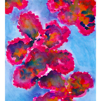 Caribbean Flush Floral Abstract Watercolor Giclee Print Watercolor Original Fashion Illustration Artwork