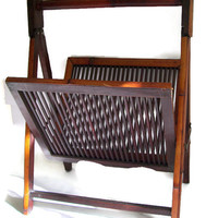Mid Century Bamboo Magazine Rack, with Slats,  Folding, Towel or Linen Holder, Dark Brown