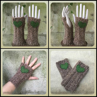 Crochet Arm Warmers With Felt Heart~Ready to Ship~FREE SHIPPING