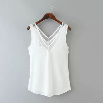 White V-neck Sleeveless Chiffon Top with Mesh Accent