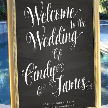 Printable Welcome Wedding Sign Chalkboard Customized Wedding poster wedding decor print art DIY wedding welcome Wedding decoration