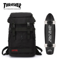 Thrasher New fashion canvas backpack with large capacity couples bag Black