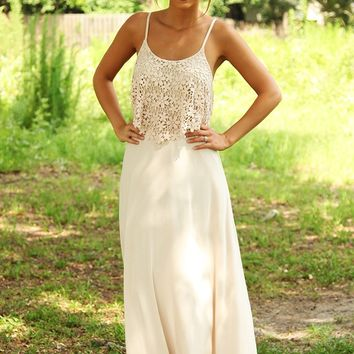 Blink Of An Eye Maxi Dress: Beige