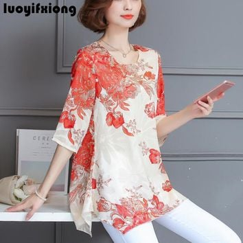Women Blouses And Shirts casual half Sleeve fashion floral print Chiffon Blouse Plus Size Ladies Tops Shirt kimono M-4XL